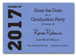 Graduation Save the Date Blue