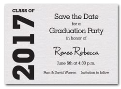 Graduation Save the Date White