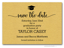 Grad Hat Save the Date Gold