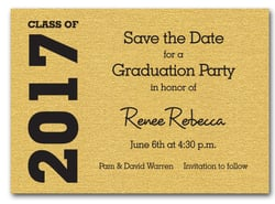 Graduation Save the Date Gold