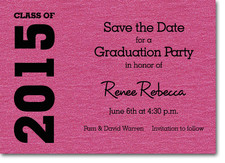 Graduation Save the Date Hot Pink