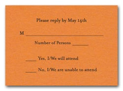 Shimmery Orange RSVP Cards