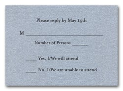 Shimmery Silver RSVP Cards