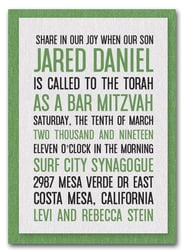Shimmery White & Green Bar Mitzvah