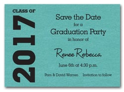 Graduation Save the Date Turquoise