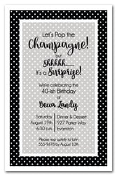 Simple White Dots on Black Party Invitations