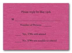 Shimmery Hot Pink RSVP Cards