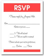 White & Tangerine RSVP Card #3