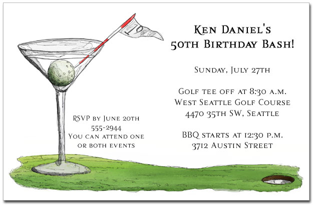 golf invitations, golf outing invitations, golf party theme, Birthday invitations