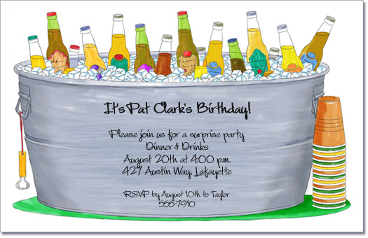 Bucket of Bottles Invitation, Cocktail Party Invitation, Birthday