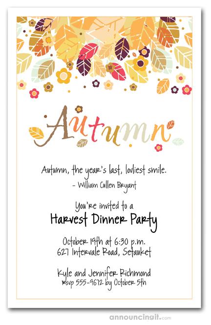Autumn Season Invitations, Fall Invitations