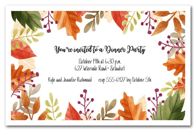 Beautiful Autumn Leaves Fall Party Invitations
