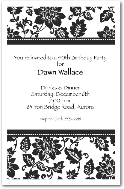 Black Damask Birthday Invitations – Damask Birthday Invitations