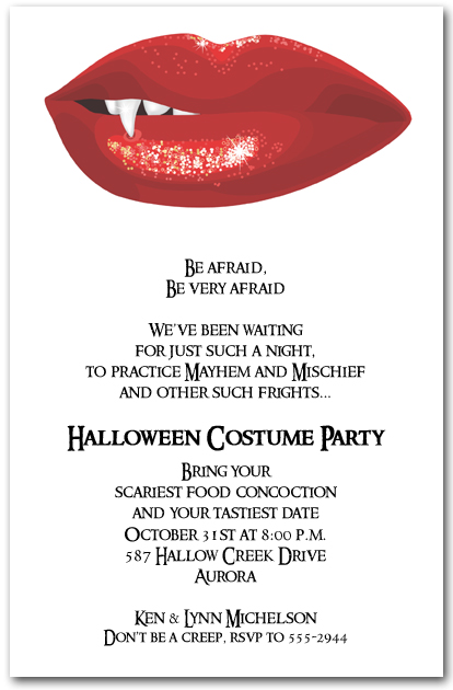 Bloodred Vampire Lips Halloween Party Invitations