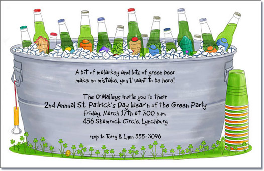 St Patricks Day Party Invitation Green Beer Invitations