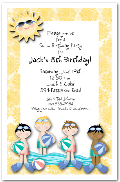 Boys Swim Time Party Invitation Pool Party Invitation – Swim Party Invitation