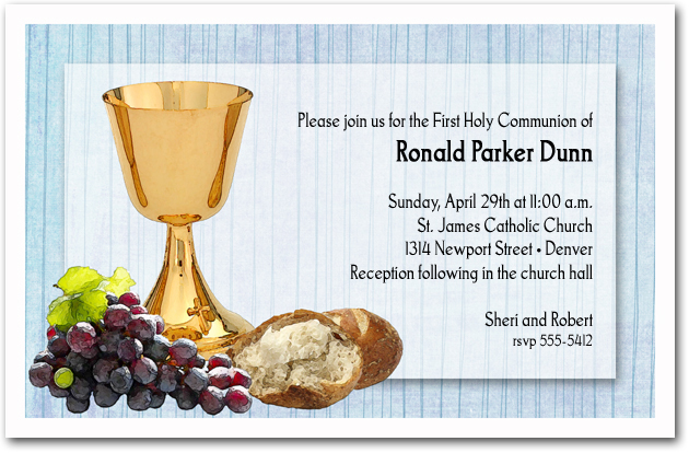 Chalice Bread Grapes Boys First Communion Invitations – Invitation Cards for First Holy Communion