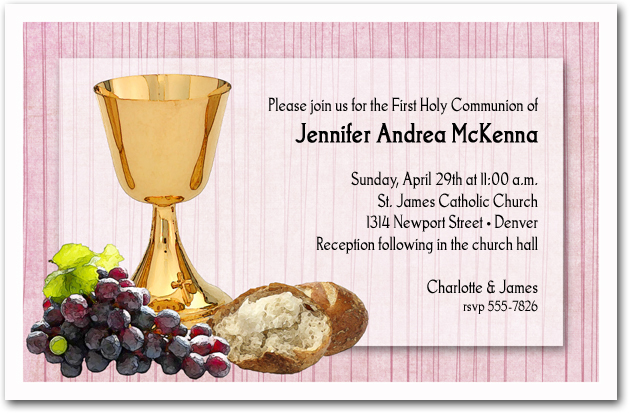 Chalice Bread Grapes Girls First Communion Invitations – First Communion Invitation Cards