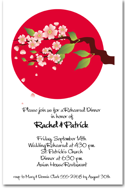 Asian Invitations Cherry Blossoms on Red Circle Invitations – Asian Invitation Cards