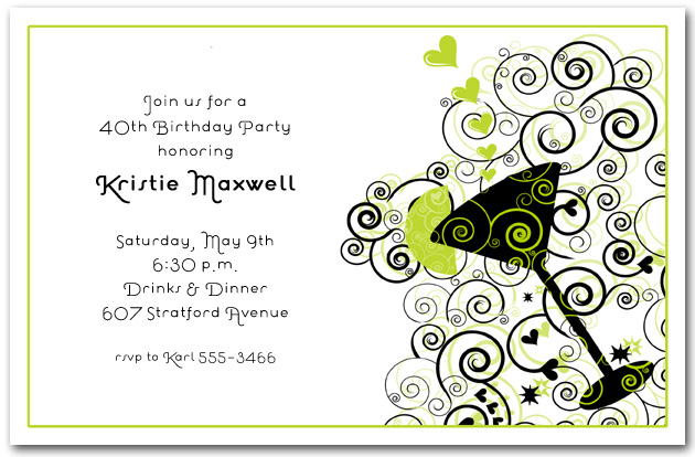 cocktail on green and black swirl invitations  cocktail