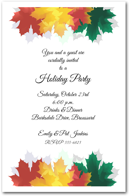 Colorful autumn leaves invitations fall party invitations for Thanksgiving invitation templates free word
