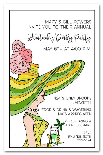 derby day lady kentucky derby invitations