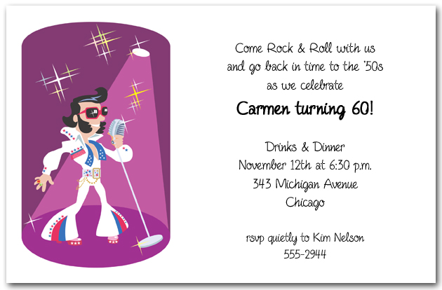 Elvis Impersonator Invitations, 1950's Party Invitations