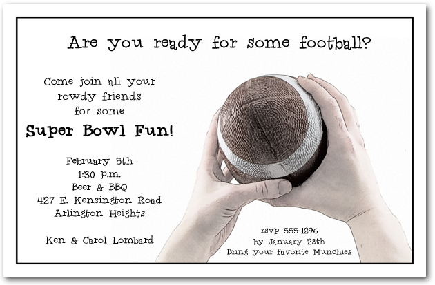 Football Catch Super Bowl Party Invitations – Super Bowl Party Invite