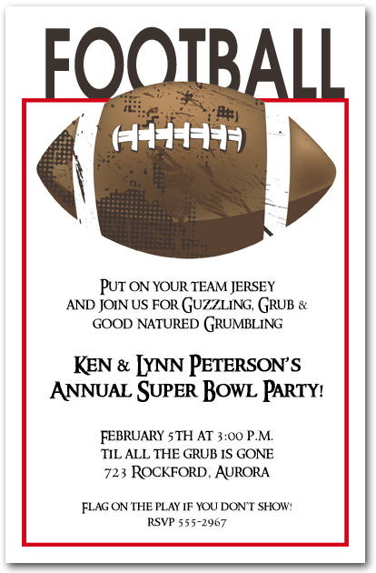 Football Grunge Super Bowl Party Invitations – Super Bowl Party Invite