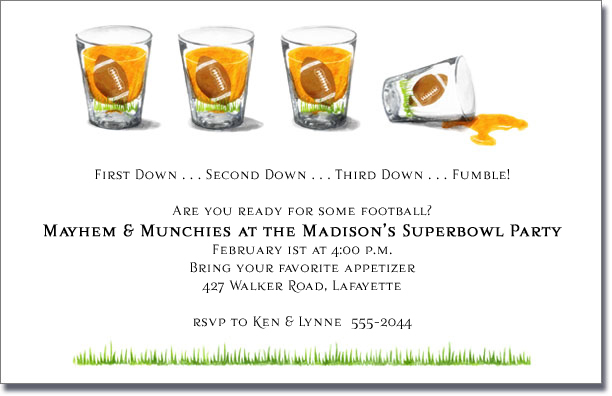 Football Shot Glasses Super Bowl Party Invitations – Football Party Invite