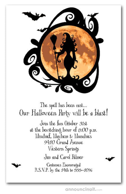 Full Moon Witching Hour Halloween Invitations