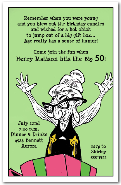 old geezer funny birthday party invitations