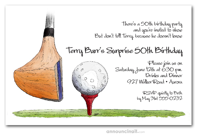 Golf Driver on Tee Invitations Golf Outing Invitations Golfing – Golf Party Invites