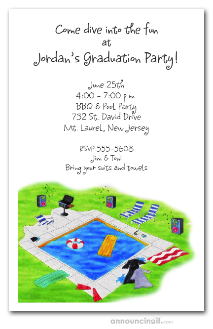 Graduation Pool Party Invitations