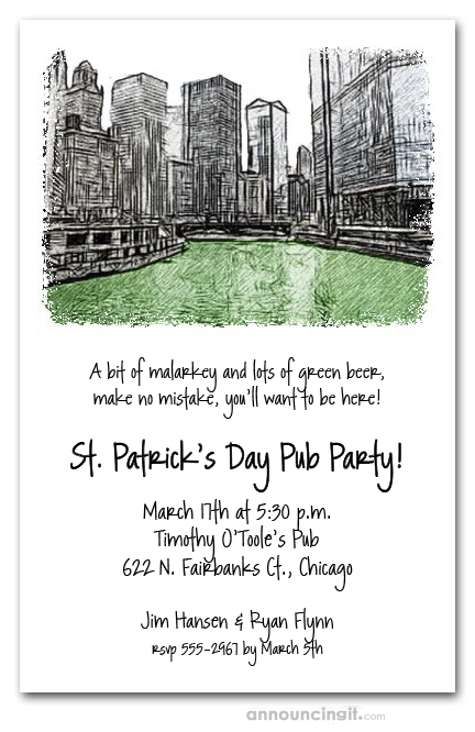 Green Chicago River St Patricks Day Invitations