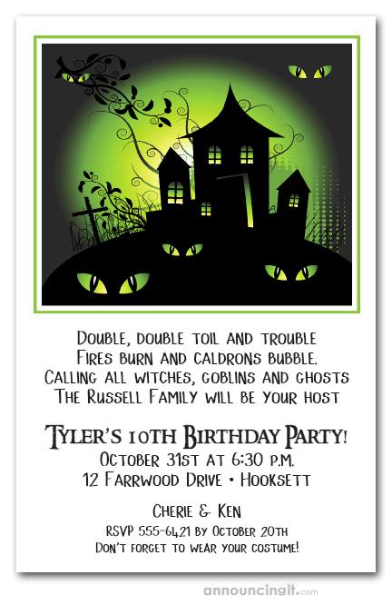 green haze haunted house halloween party invitations