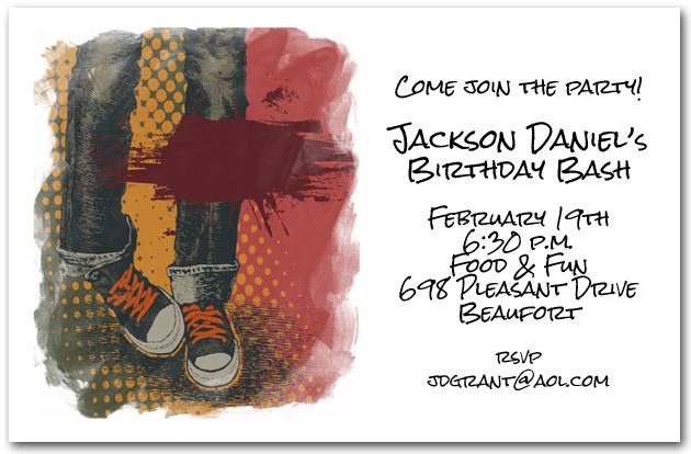grunge boy blue jeans birthday invitations, teen invitations, Birthday invitations