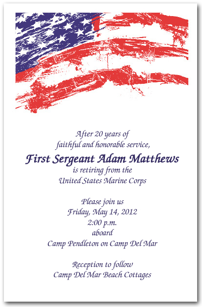 Usa flag invitations 4th of july invitations military for Uscg memo template