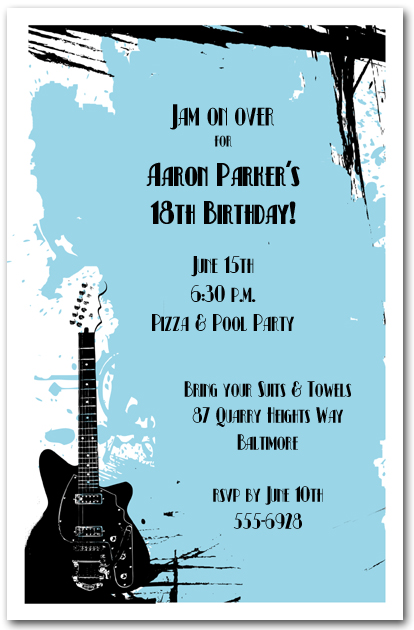 Guitar on Blue Grunge Invitations Rock and Roll Invitations – Blue Birthday Invitations
