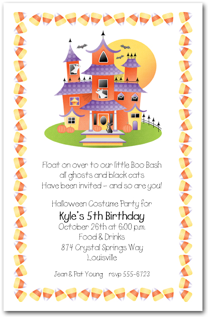 Haunted House and Candy Corn Halloween Party Invitations