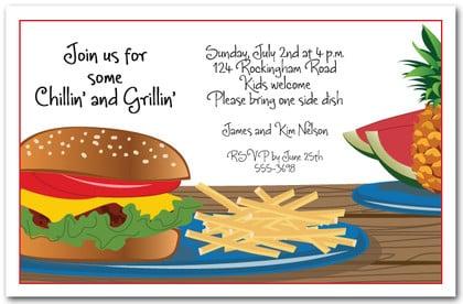 Hamburger Party Invitation Barbeque Invitations