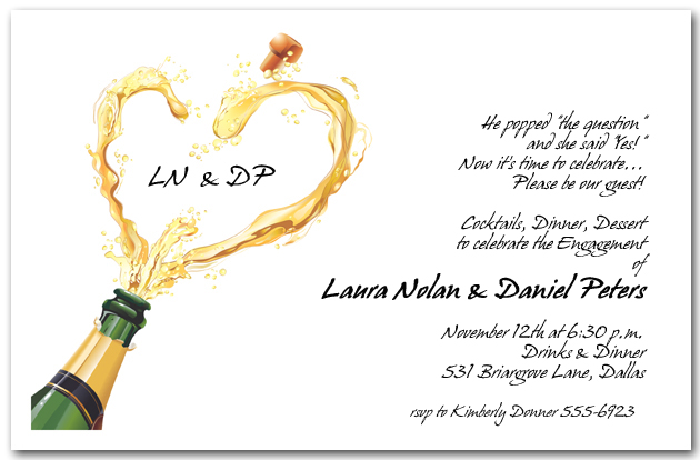 Heart Champagne Pop Invitations Engagement Party Invitations – Champagne Party Invitations