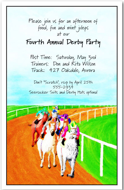 Race is On Horse Racing Invitations, Kentucky Derby Party ...