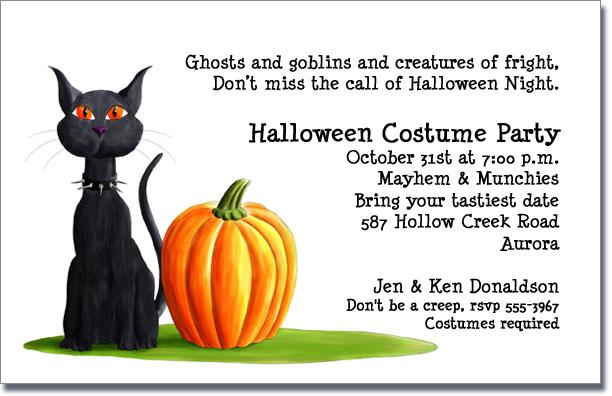 Jack oLantern and Black Cat Halloween Invitation – Invitation for Halloween Party