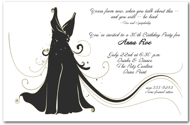 Dinner Party Invitations – Black and White Party Invitation Wording