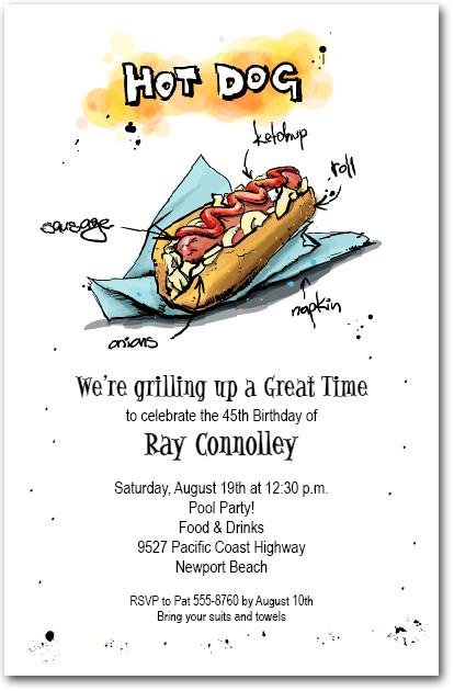 make mine a hot dog bbq party invitations