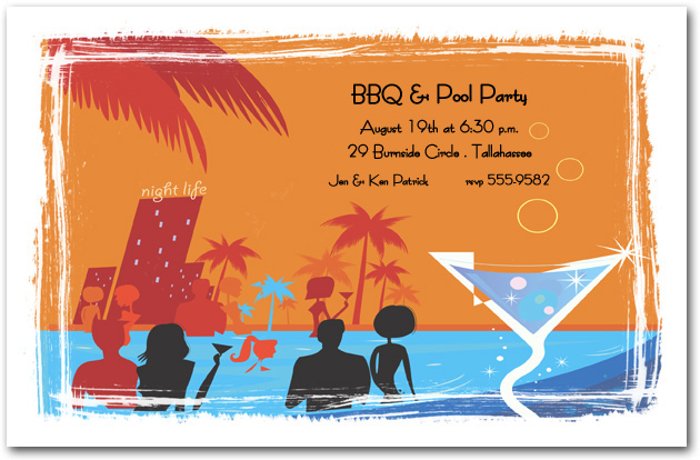 Pool Invitations, Pool Party Invitations, Swim Invitations