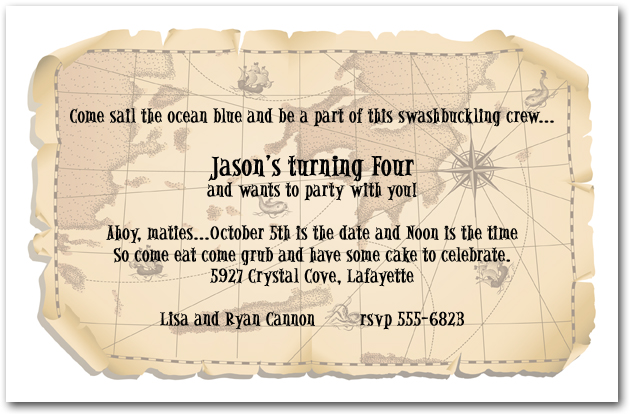 Pirate Ship Map Birthday Invitation Pirate Invitation – Pirate Birthday Invitations Wording