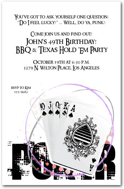 Poker birthday party invitation wording