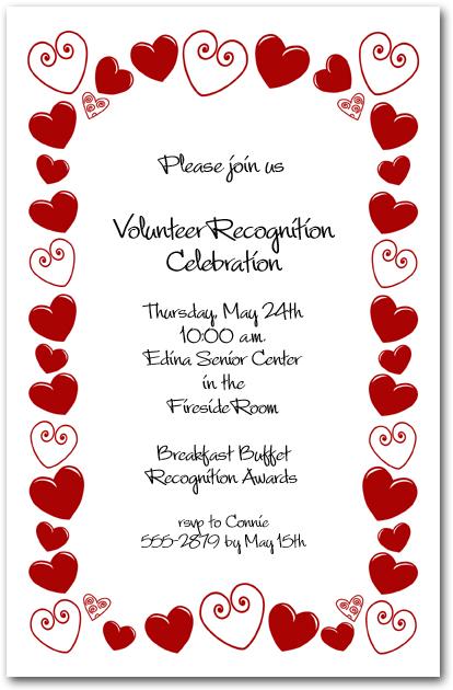Red Hearts Border Party Invitations